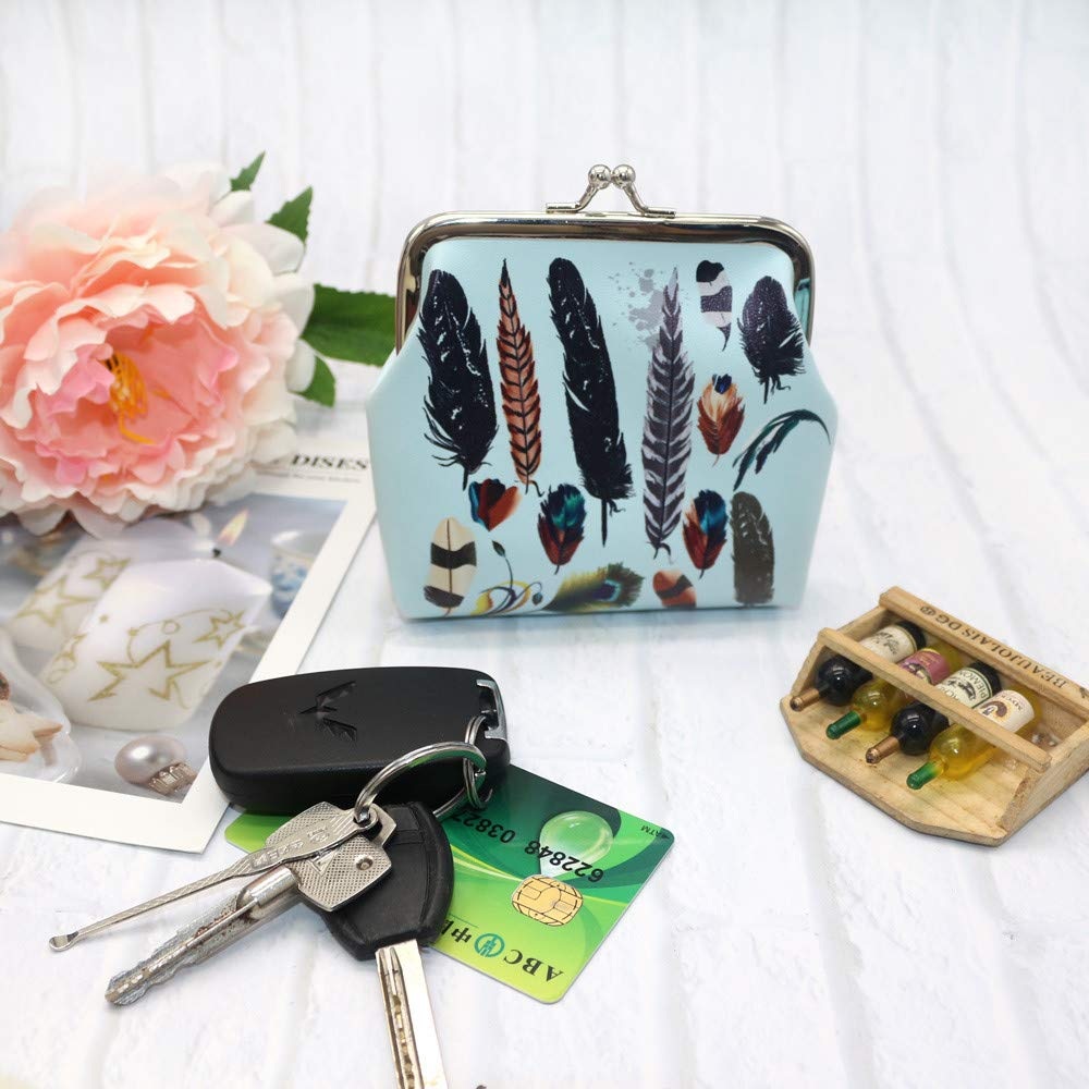 TEEGUI Women Small Bag Coin Purse Printing Flower Snacks Wallet Bag Change Pouch Key Holder