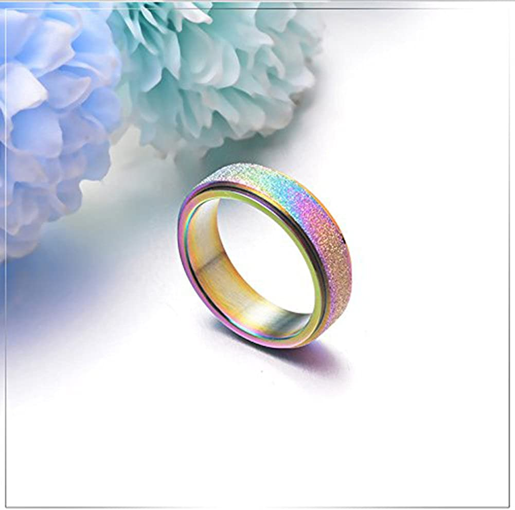 JAJAFOOK 6MM Titanium Steel Scrub Spins Rings,Fashion Spinner Ring Colorful Sand Blast Finish,Comfort Fit