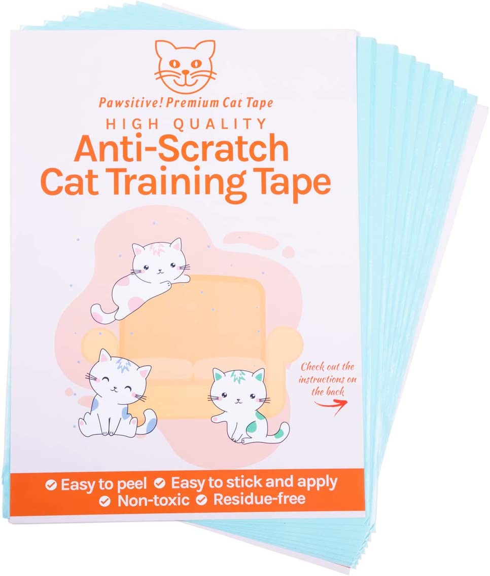 Cat Furniture Protector Training Tape - 8 Large Cat Scratch Tape Sheets with Easy Application & No Sticky Residue. Double Sided, Durable Cat Couch Protectors for Furniture, Carpets & More (12x17 in)