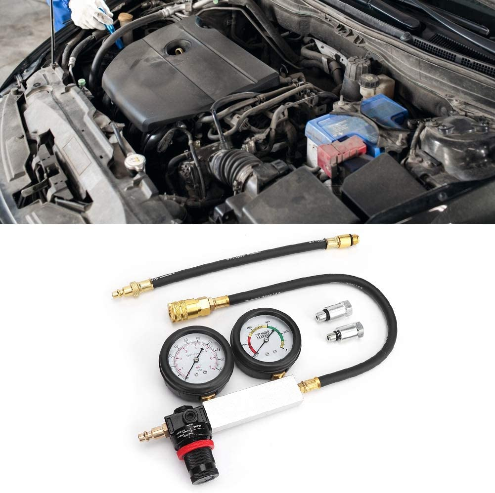 Car Cylinder Leak Tester Double Pressure Gauge Compression Leakage Detector Kit 0-7bar//0-100psi Cylinder Leakage Detector