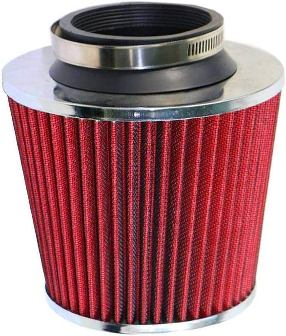 DX//LX//EX Model 1.8L Engine ONLY 3 Inch Aluminum High Flow Air Intake Kit Polish Heat Shield Pipe with Red Filter For 2006-2011 Honda Civic