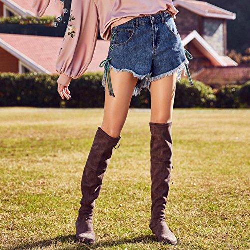 OcAuWerE Womens Casual Lace-up Tassel High Waist Denim Short Jeans by OcAuWerE (Image #2)