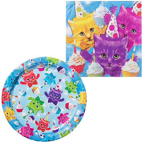 Costume Super Center (Costume SuperCenter Cats Party Supplies Tableware Kit (For 16)