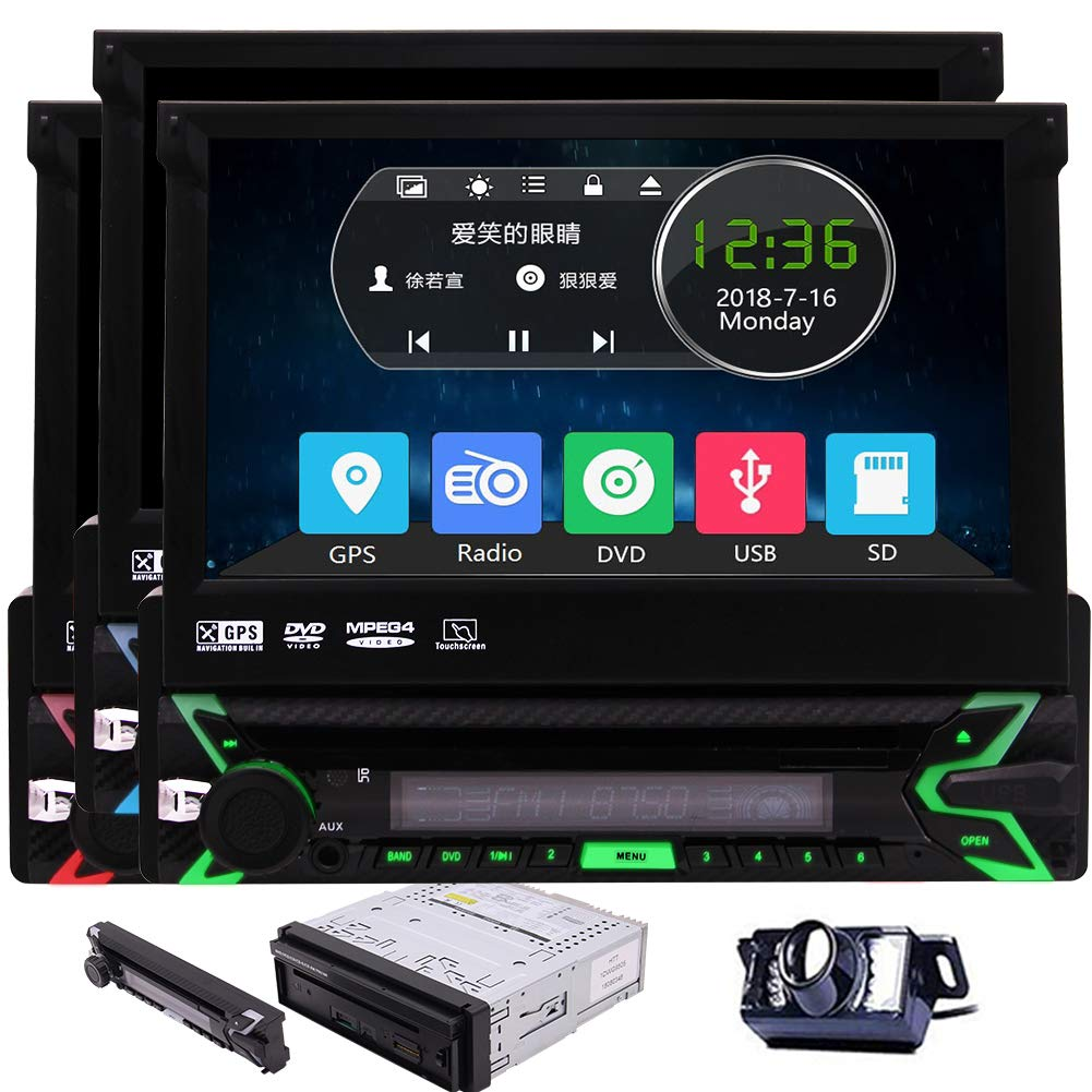 Eincar Vehicle Wince 1Din Headunit 7 Inch Detachable Panel Touchscreen Car Radio Stereo Free 8GB GPS Map Card Backup Camera Autoradio Receiver Bluetooth Aux subwoofer RDS Car CD DVD Player