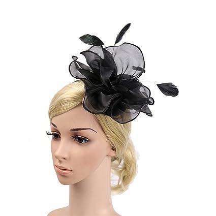 Nacome Women s Fascinators Hat Hair Clip Feather Wedding Headware Bridal  1920s Headpiece (Black) 6831839d6ba