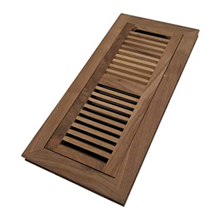 Homewell Walnut Wood Floor Register, Flush Mount Floor Vent Cover, 4X12  Inch, with Damper, Unfinished