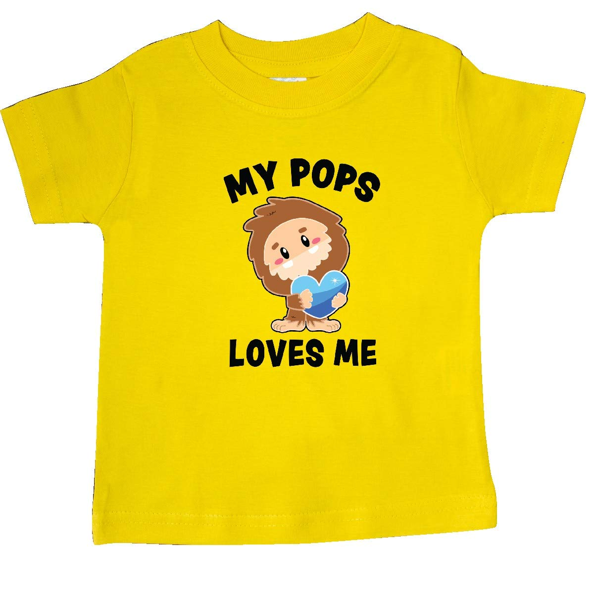 inktastic Cute Bigfoot My Pops Loves Me Baby T-Shirt