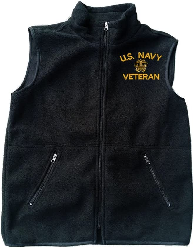 MILITARY Navy U.S. Navy Veteran Black Fleece Zipped Vest with Pocket