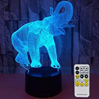 Novelty Elephant 3D Night Light 7 Colors Changing Nightlight with Smart Touch & Remote Control Optical Illusion Lamps…