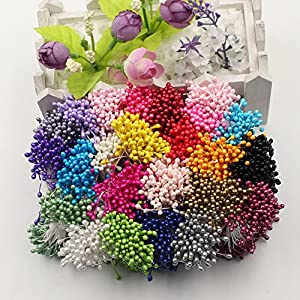 FLOWER 1200PCS Artificial Double Heads Stamen Pearlized For Craft Cards Cakes Decoration Floral DIY Wreath Accessories 81