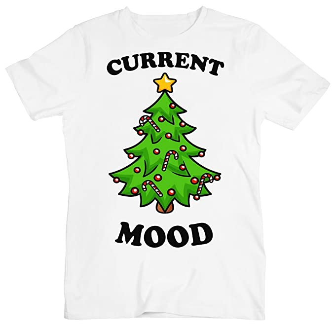 fb328bd14f8 Image Unavailable. Image not available for. Color  Current Mood Beautiful Christmas  Tree Design Men s T-Shirt XX-Large White