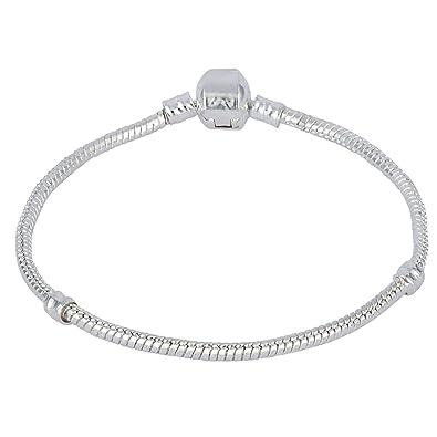 39fb23c0b Sterling Silver 3mm Snake Chain Bracelet for European Charms Fits Swarovski  Pandora Length 8in 20cm: Amazon.co.uk: Jewellery
