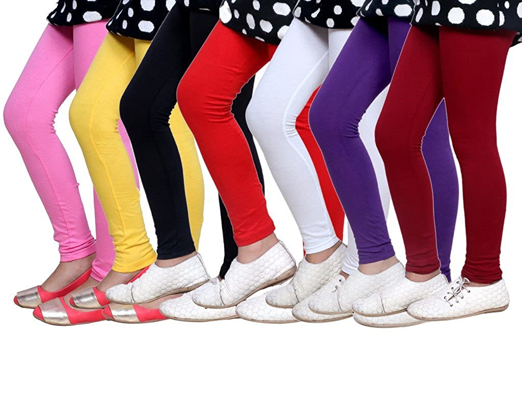 -Multiple Colors-11-12 Years Pack of 5 Indistar Big Girls Cotton Full Ankle Length Solid Leggings