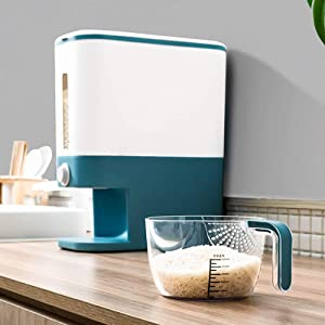 Rice Storage Container,Rice Dispenser,Large Sealed Grain Container,Dry Food Dispenser, Dry Food Fruit Storage Box For Home and Kitchen (Blue)
