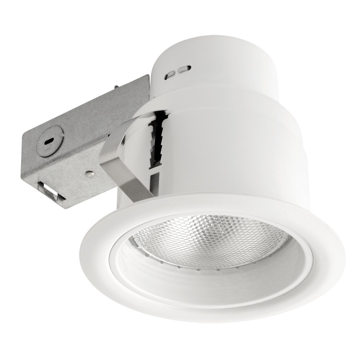 Globe Electric 4.5'' Rust Proof Indoor/Outdoor Recessed Lighting Kit, Dimmable Downlight, Ridged Baffle, White Finish, Easy Install Push-N-Click Clips, 90671