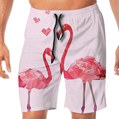 feedf07f167 Amazon.com: Men's Swim Trunks Couple Pink Flamingo Quick Dry Board Shorts Bathing  Suits Swimwear Volley Beach Trunks: Clothing