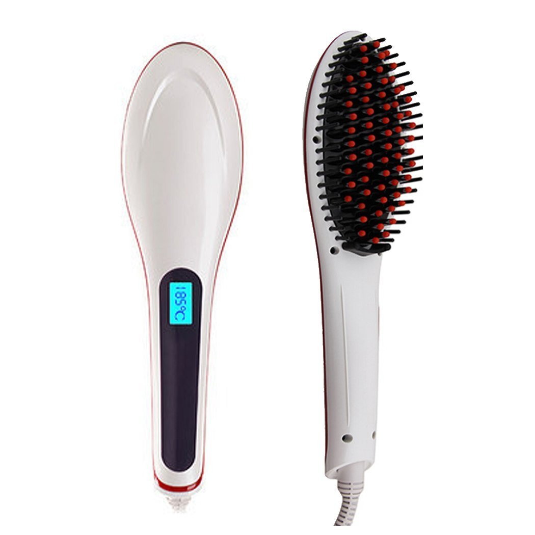 Keebok 29W Digital Anti Static Ceramic Hair Straightener Anion Hair Care, Anti Scald, Zero Damage, Massager Straightening Irons, Detangling Hair Comb Brush (White)
