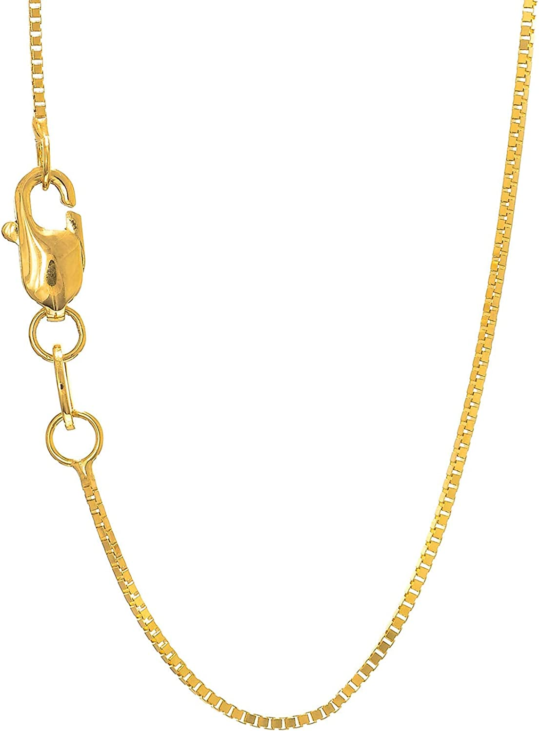 B00X62FRKW 14k Solid Gold Yellow White or Rose 0.8 mm Box Chain Necklace 617tzyr9XaL