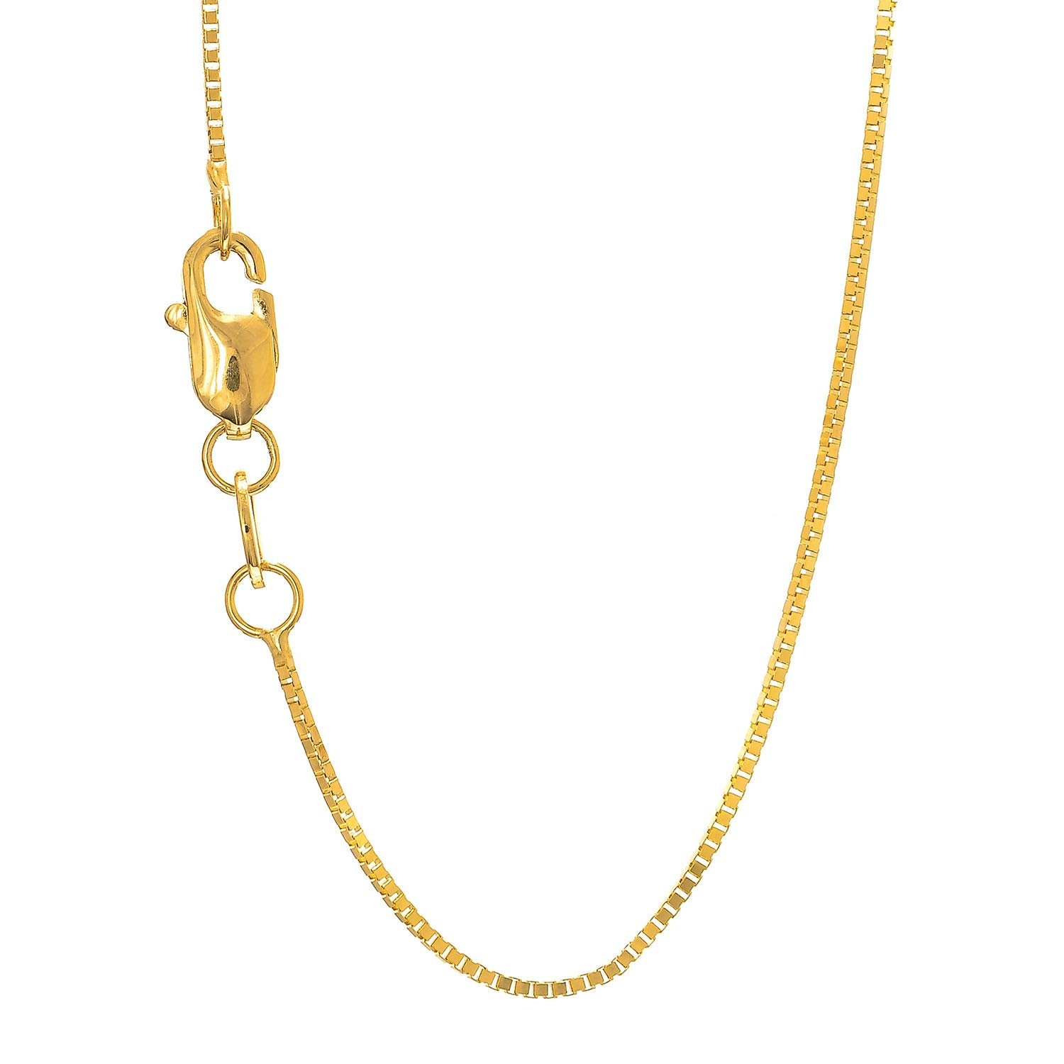 14K Yellow or White Gold 0.70mm Shiny Classic Box Chain Necklace for Pendant and Charm with Lobster Clasp (16'', 18'', 20'' or 24 inch