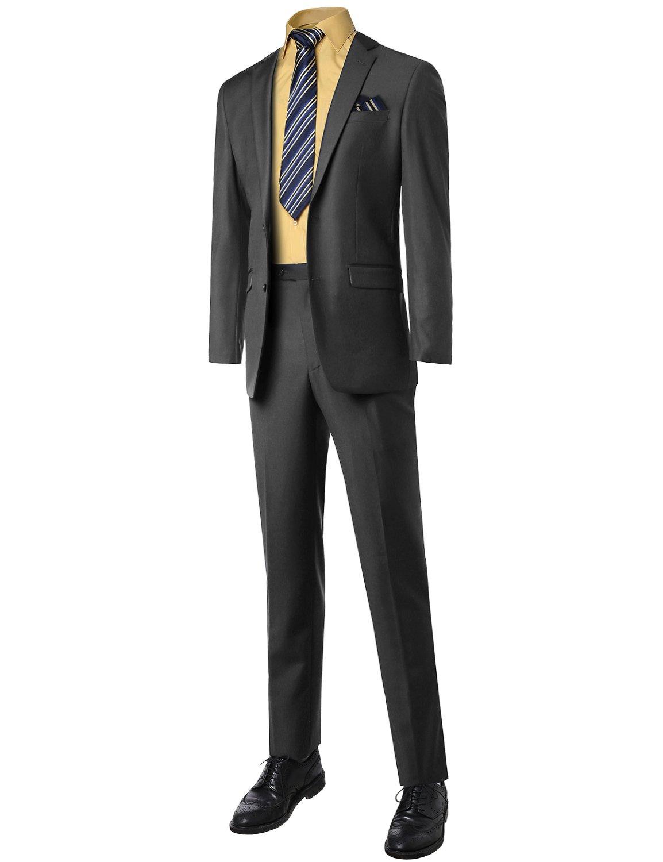 Style by William Classic Slim Fit 2 Pcs Suit Blazer And Slacks Charcoal 52R Size