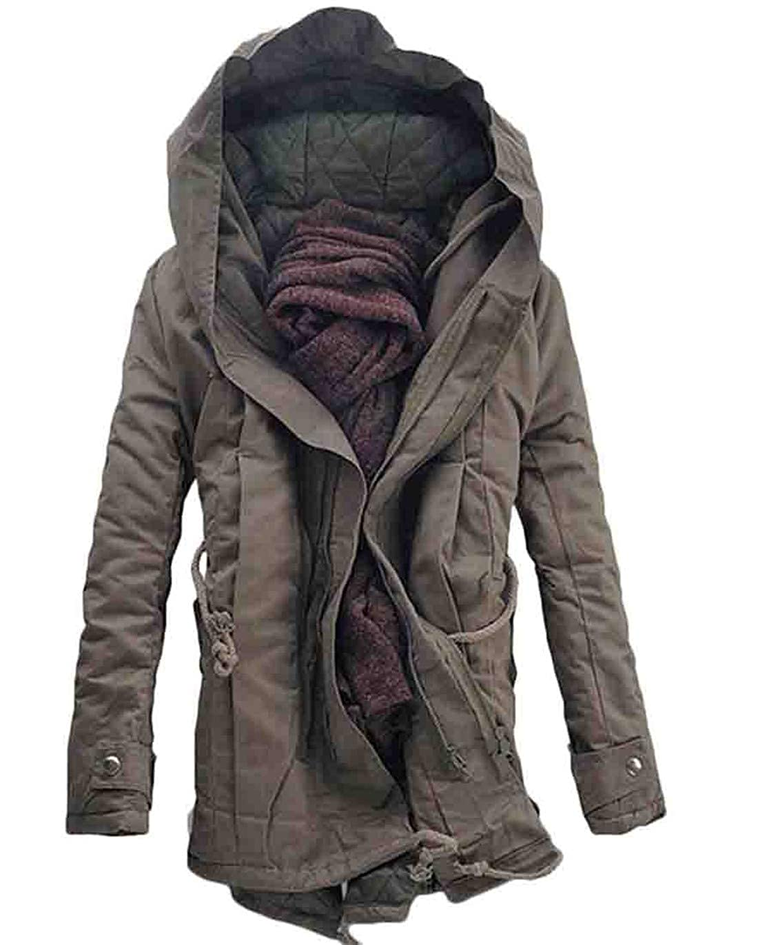 BU2H Men Quilted Anorak Parka Drawstring Plus Size Thick Hoodie Down Jacket
