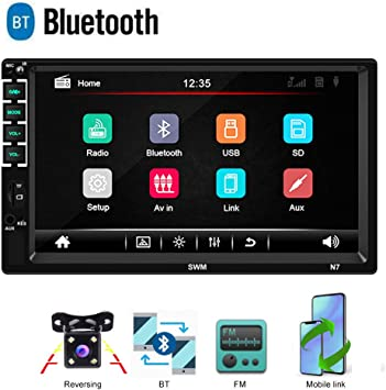 17,8 cm Doppel Din Auto Radio Audio Bluetooth Touch MP5 Player USB FM Android Telefon Spiegel Link Entertainment Multimedia Stereo 4 LED Mini R/ückfahrkamera mit Lenkradfernbedienung