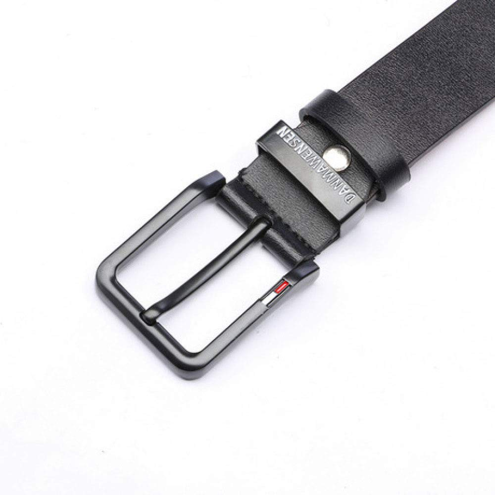 DENGDAI Leather Mens Belt Casual Belt Youth English Alphabet Black Needle Buckle Belt