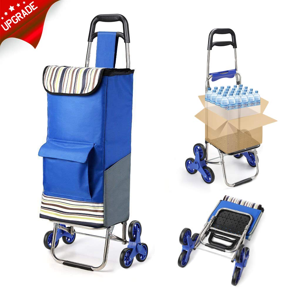 2019 Upgraded Folding Shopping Cart Stair Climbing Cart with Quiet Rubber Tri-Wheels Grocery Utility Cart with Wheel Bearings Platform for Laundry Basket Loading