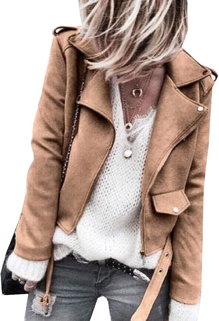 xiaohuoban Women/'s Outwear Solid Color Half Zip Maxi Faux Suede Coats Flare Sleeve Coat Hot Pants
