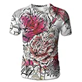 Edgar John Romantic Rose Petals Bouquet Bridal Wedding Themed Nostalgic Blooms in Mixed Colors Men's Short Sleeve Tshirt L