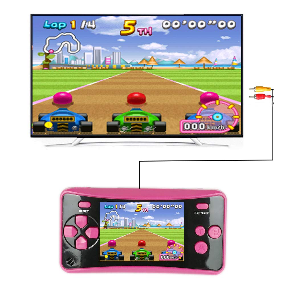 HigoKids Handheld Game Console for Kids Portable Retro Video Game Player Built-in 182 Classic Games 2.5 inches LCD Screen Family Recreation Arcade Gaming System Birthday Present for Children-Rose Red by HigoKids (Image #2)