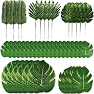 PartyWoo Palm Leaves, Fake Leaves, Artificial Leaves, Hawaiian Party Decorations, Luau Birthday Party Decorati