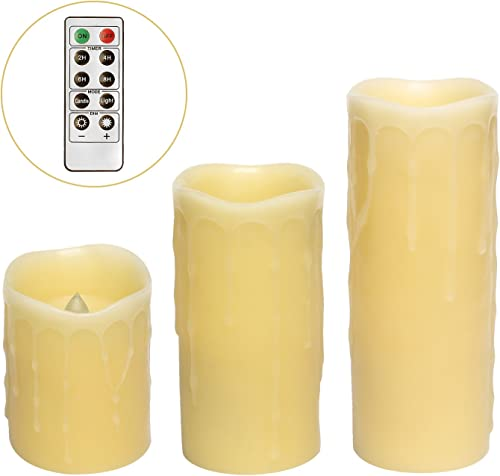 GiveU Set of 3 Remote Control Led Pillar Dripping Flameless Candle,Ivory,4,6,8 Inch Height