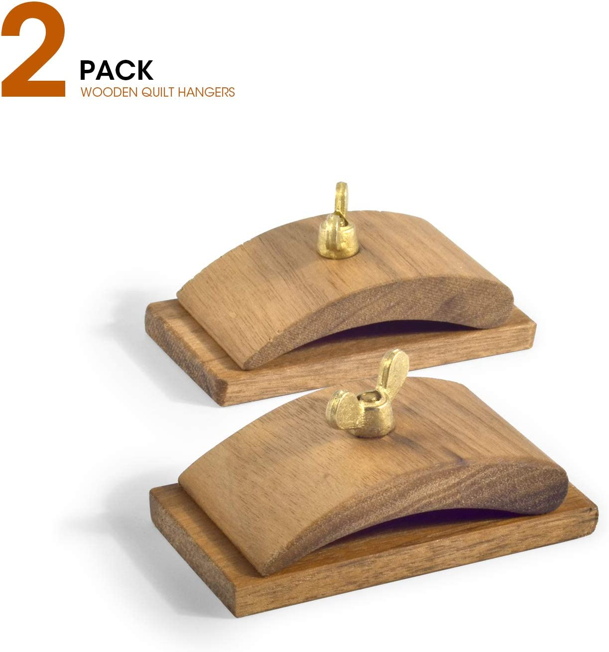 3.3 x 1.7 inches One Pairs Walnut Wood Quilt Hang-Ups Clamps Clips Large