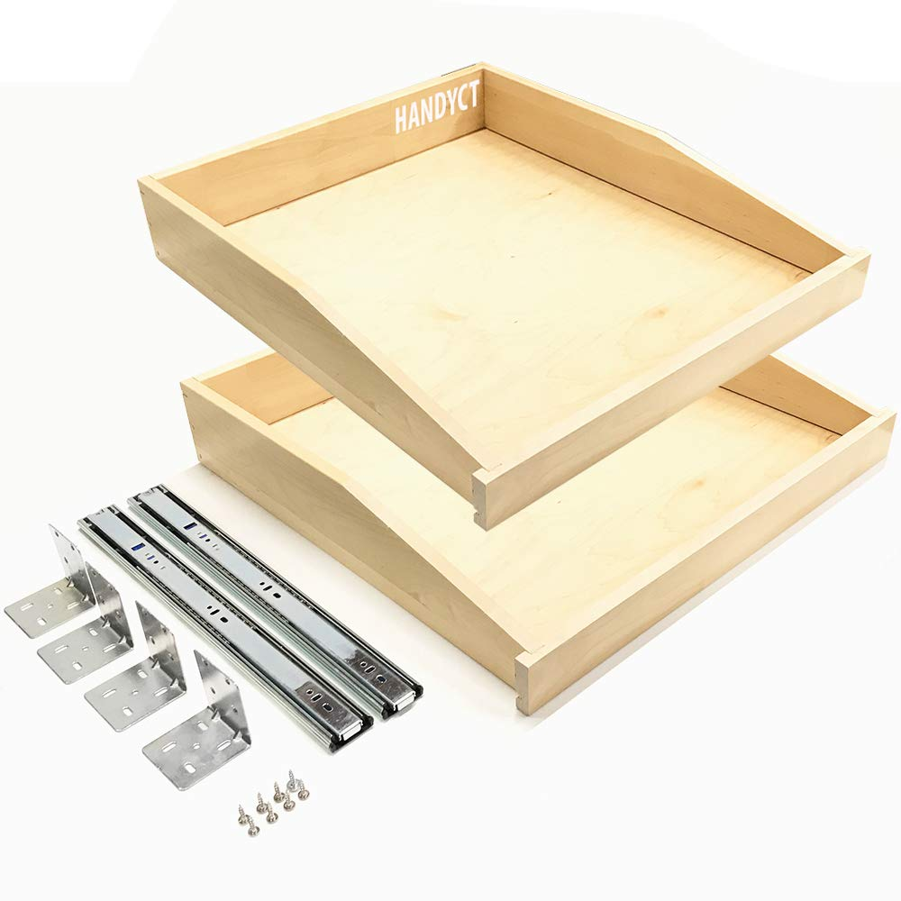 2-Pack Wood Angle Drawer Box Pull-Out with Soft Close Slides + Brackets, 29'' Width x 17''Depth - Choose Your Height & Accurate Width - MD21