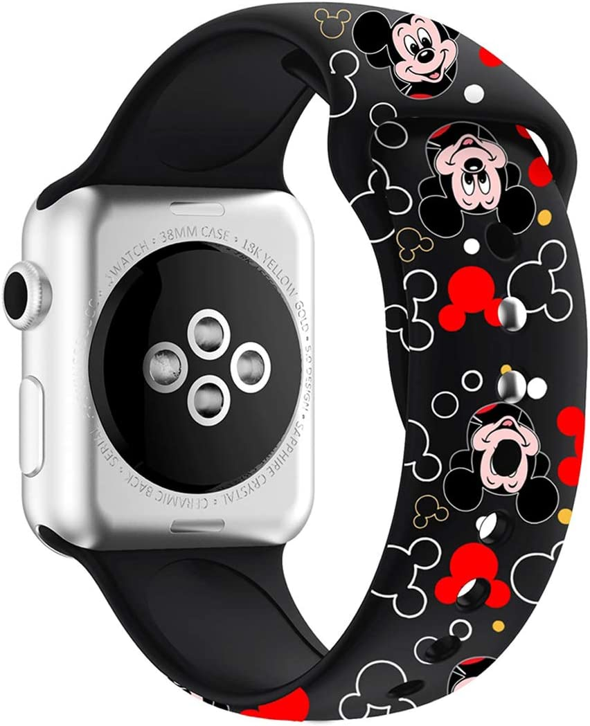 MIADEAL Mickey & Minnie Mouse Bands for Apple Watch, Fit All iWatch Series, 38mm/40mm/42mm/44mm (Black, 38mm or 40mm)