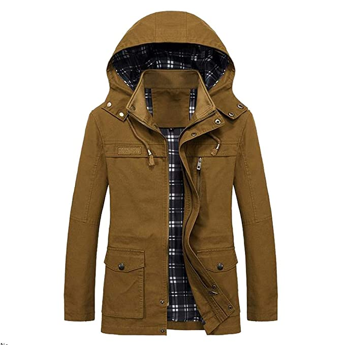 de7ef2d3d38 Paigu Men Winter Warm Jacket Overcoat Long Trench Zipper Buttons Jacket Coat   Amazon.in  Clothing   Accessories