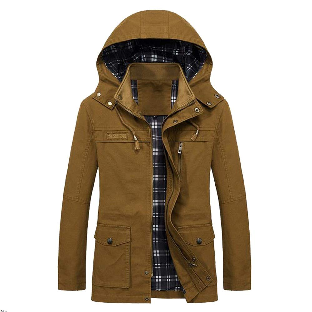 YOcheerful Men Jacket Coat Winter Warm Outwear Overall Solid Bomber Jacket Overcoat Cardigan Autumn Parka
