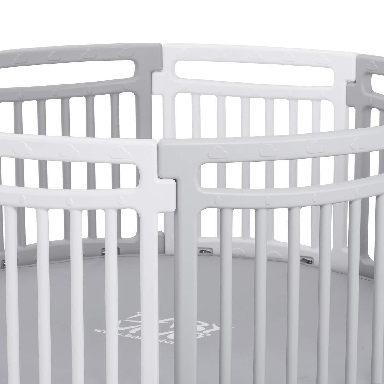 Lucy Baby Vivo Laufgitter Laufstall Baby Absperrgitter Rundes Krabbelgitter Schutzgitter f/ür Kinder aus Kunststoff mit Matte 8 Elemente Grau//Wei/ß