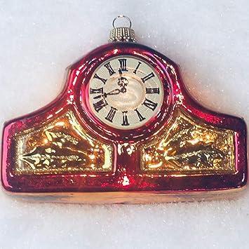 Weihnachtsbaum Anhanger Uhr Aus Glas 7 5 Cm Christbaumschmuck