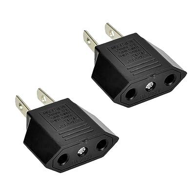 ANRANK E-U1009618AK EU Europe to US USA Travel Power Plug Adapter Converter (Black, 2-Pack)