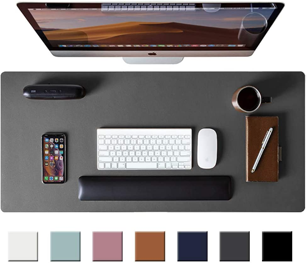 Leather Desk Pad Protector,Mouse Pad,Office Desk Mat, Non-Slip PU Leather Desk Blotter,Laptop Desk Pad,Waterproof Desk Writing Pad for Office and Home (Gray,31.5