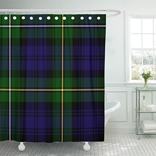 TOMPOP Shower Curtain Abstract Scottish Plaid in Green Black Blue Campbell of Argyll Tartan Antique Watch Waterproof Polyester Fabric 60 x 72 inches Set with ()
