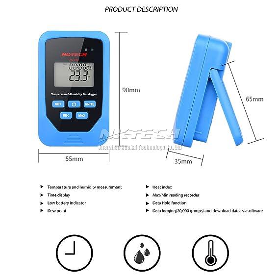 nktech Digital termómetro temperatura humedad probador 6 en 1 nk-th3 Mini grabadora tiempo pantalla de registro de datos punto de rocío medidor de ...