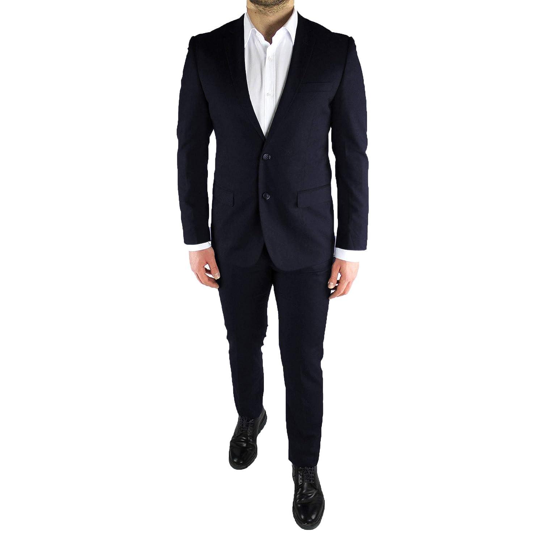 Abito Uomo Elegante Completo Slim Fit Nero Blu Estivo Primaverile Cerimonia Sartoriale Classico