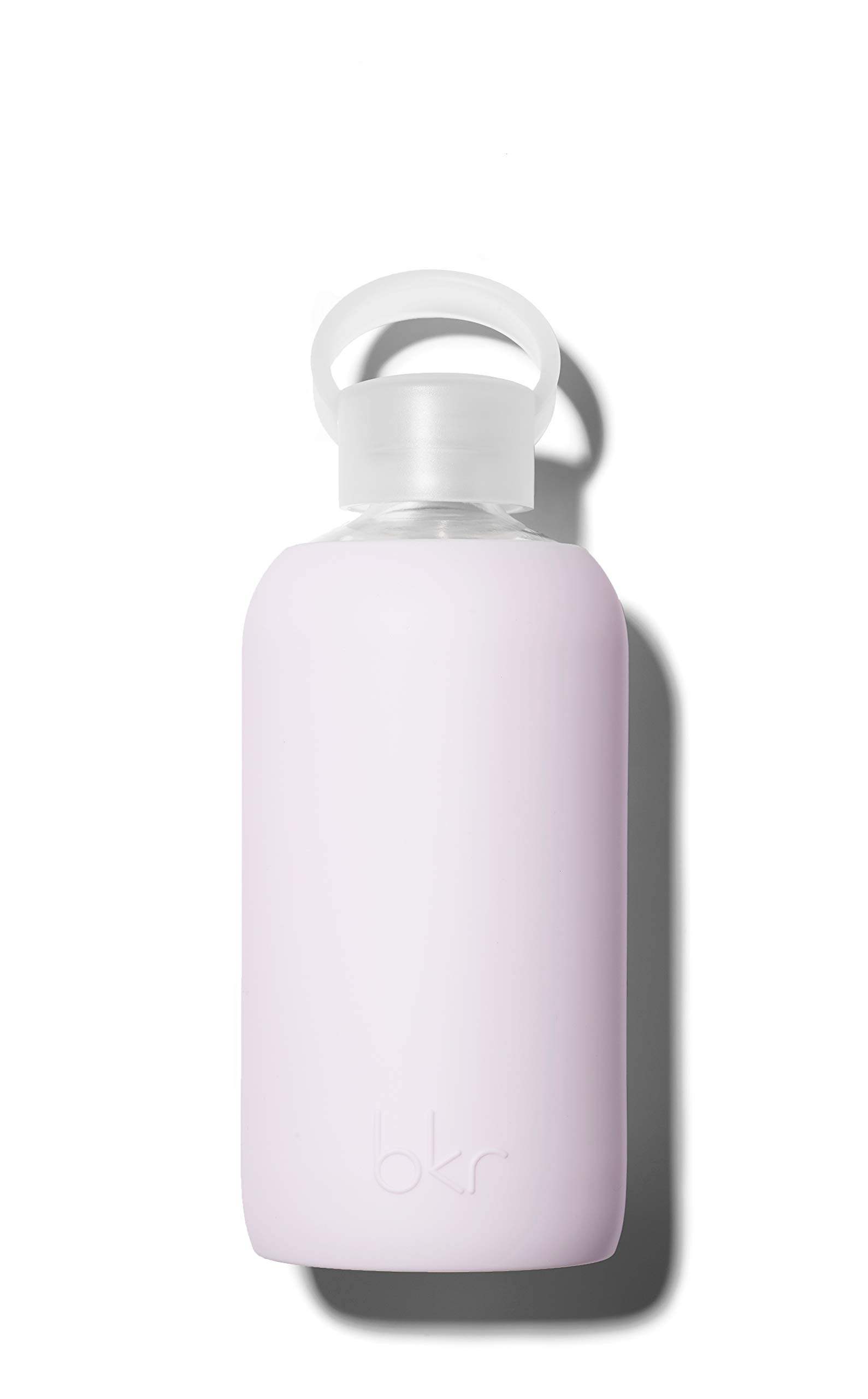bkr Lala Glass Water Bottle with Smooth Silicone Sleeve for Travel, Narrow Mouth, BPA-Free & Dishwasher Safe, Opaque Lavender Fog, 16 oz / 500 mL