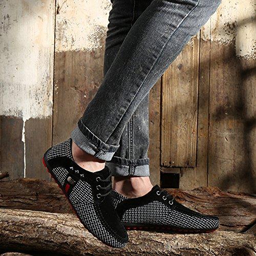 nero Moda Scarpa Allacciata griglia Casual Uomo LIEBE721 Uomo Scarpe Libero Mocassino Il Tempo per Scarpe Scarpe Uomo Popolari da Eq1UwAR