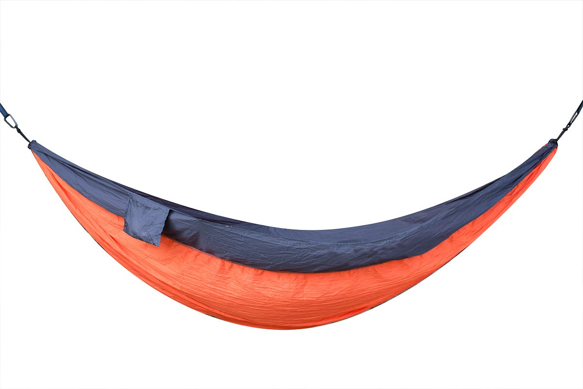 Alvantor Double Camping Hammock Blue Lightweight Nylon Portable Parachute with 2 Hanging Straps and Carabiners for Outdoor Backpacking Hiking Travel Garden Beach Yard 118''x78''