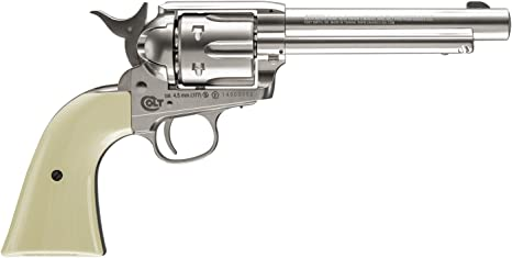 Balines 29318//38123//23054 Outletdelocio Pack Revolver perdigon Colt Peacemaker Gas C02 + Funda Portabombonas Calibre 4,5mm Bombonas co2