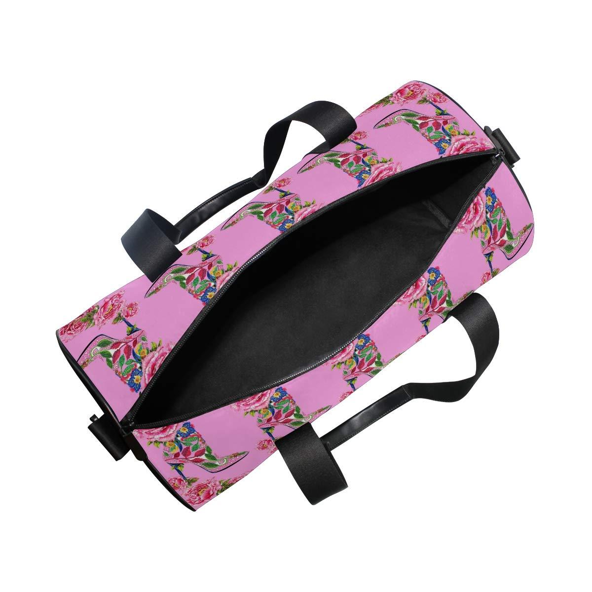 Sports Gym Duffel Barrel Bag High Heeled Shoes Shrubby Peony Pink Flower Travel Luggage Handbag for Men Women